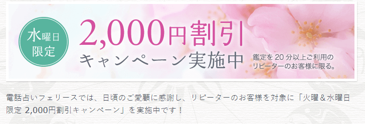 リピーターは毎週火曜・水曜は2000円割引