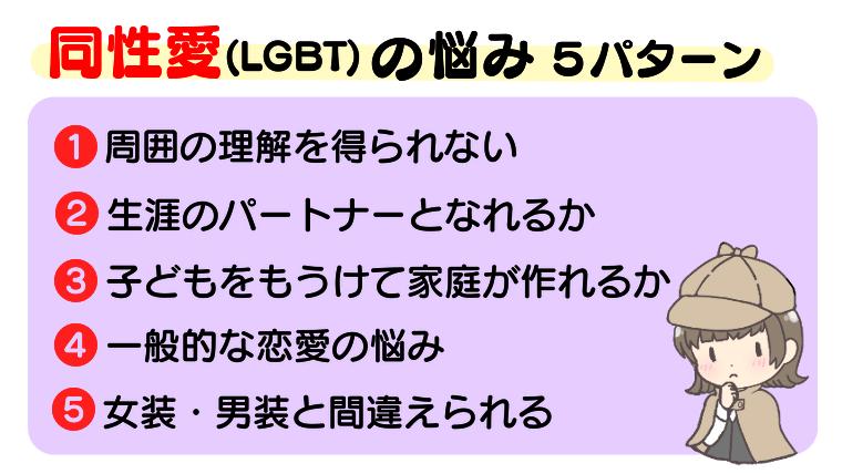 同性愛(LGBT)の悩み【5パターン】