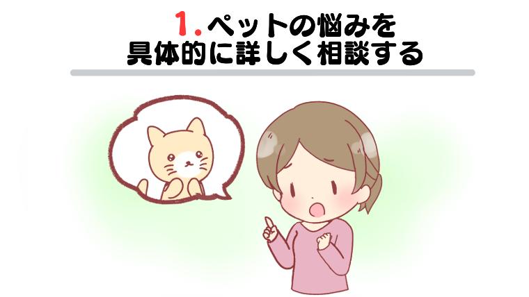 1.ペットの悩みを具体的に詳しく相談する