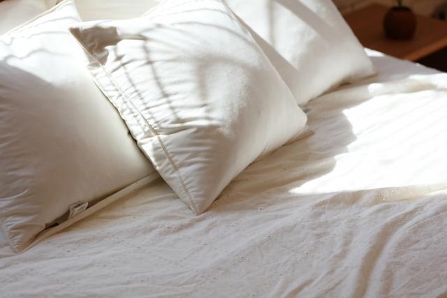 真っ白で清潔な枕とベッド